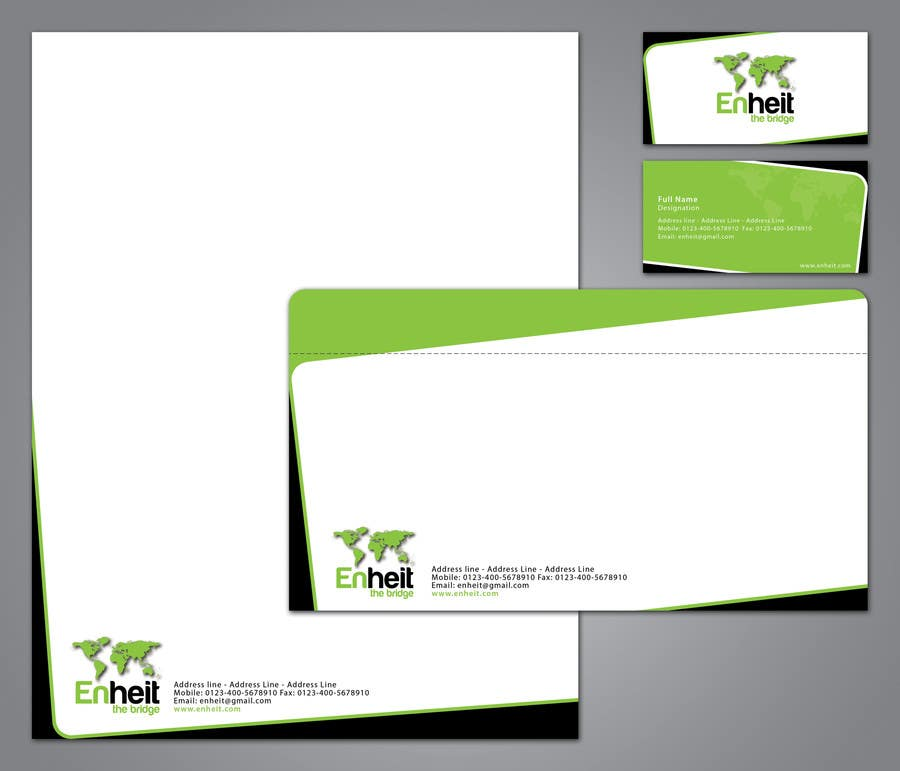 Bài tham dự cuộc thi #                                        36                                      cho                                         Letterhead, business card and envelop package design for Enheit