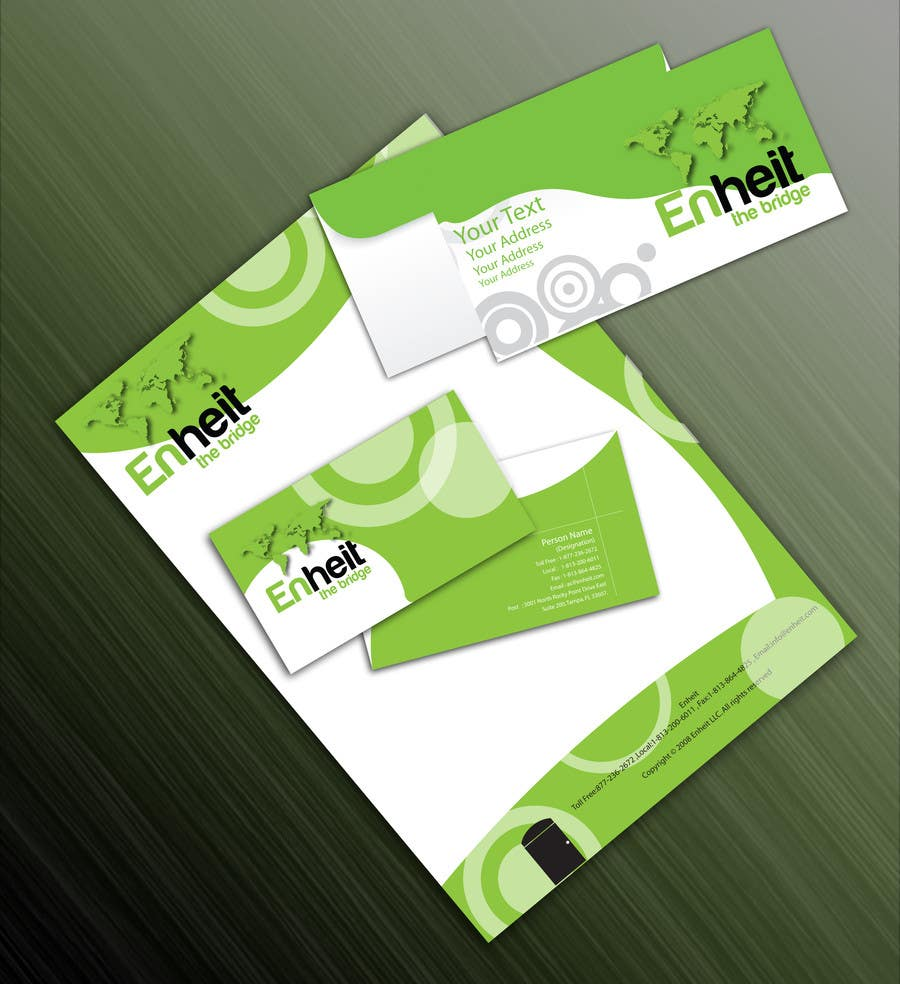 Proposition n°                                        40                                      du concours                                         Letterhead, business card and envelop package design for Enheit