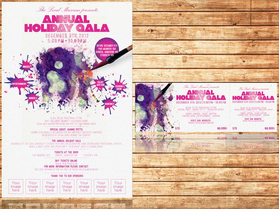 Конкурсная заявка №9 для Print & Packaging Design for Full color, eye catching poster & event ticket for a HOLIDAY GALA