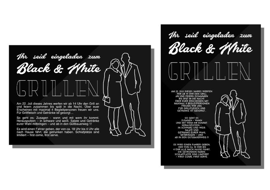 Kilpailutyö #41 kilpailussa Design an Invitation for a cool Black and White Party, printable