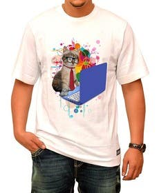 "#3 for T-shirt design ""Cat-programmer"" by ozafebri"