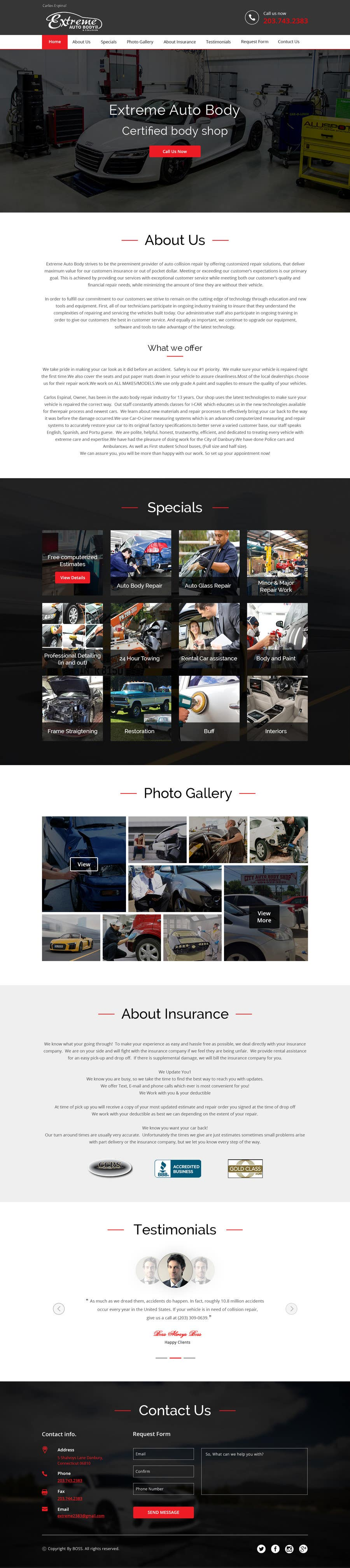Proposition n°8 du concours Auto body website mockup home page