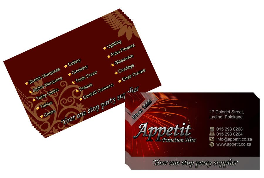 #71 for Business Card Design for Appétit Function Hire by ganeshnachi