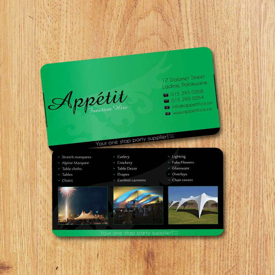 Proposition n°                                        73                                      du concours                                         Business Card Design for Appétit Function Hire