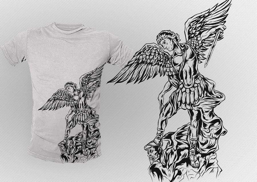 T Shirt Design Line Art : Entry #39 by dsgrapiko for t shirt design: catholic saint michael