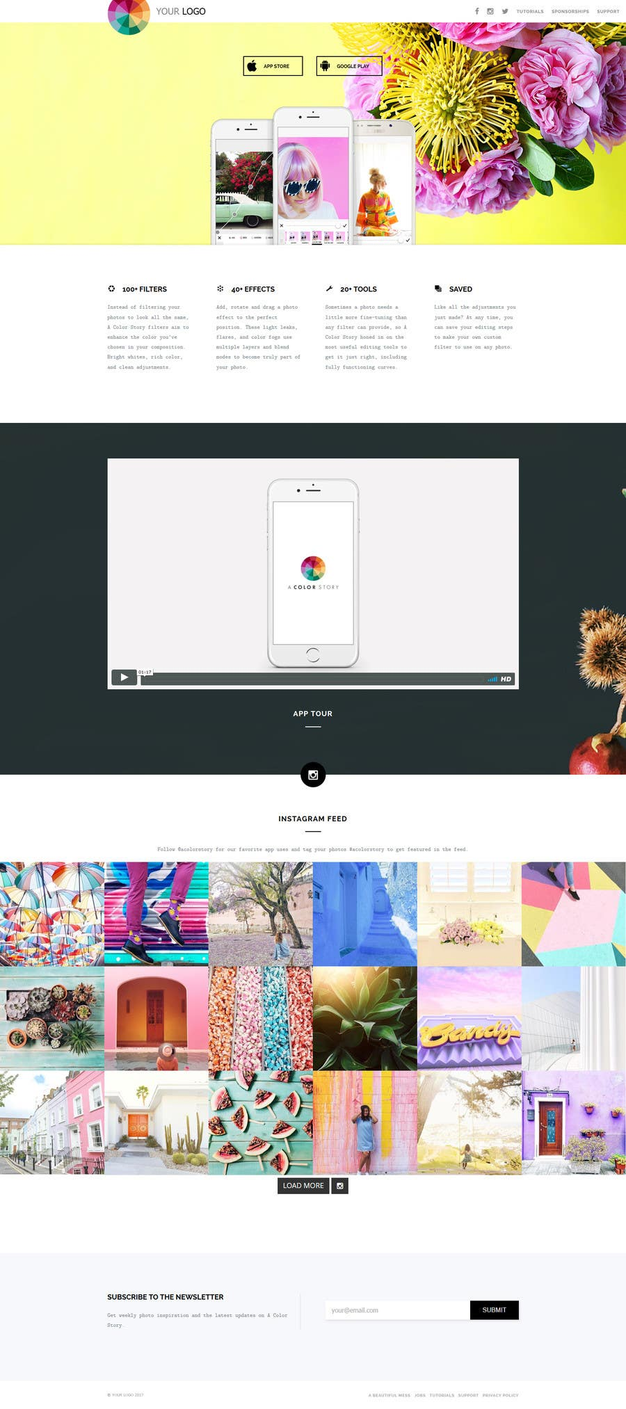 Proposition n°2 du concours 1 page - landing page in html / CSS for a mobile app w/ Instagram feed