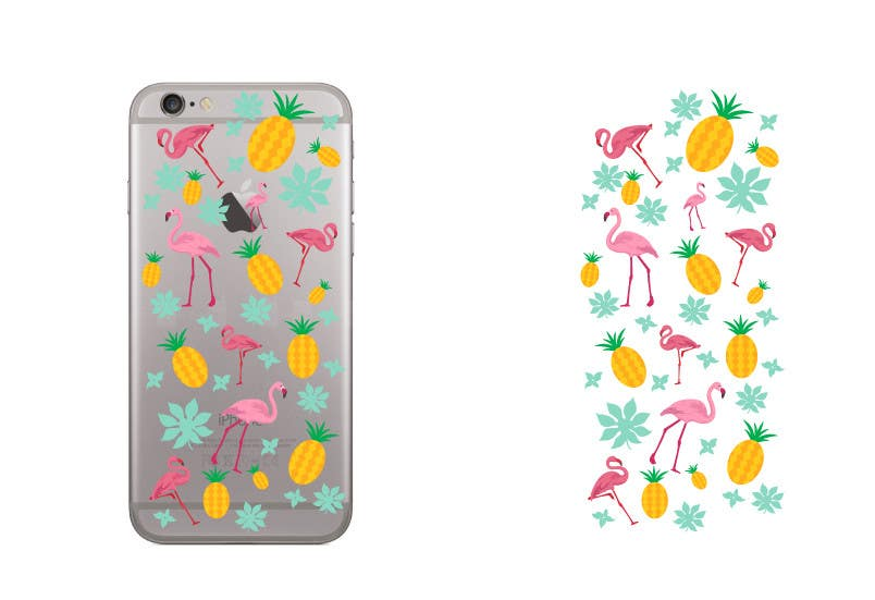 Proposition n°3 du concours Flamingo and pineapple repeating pattern for a phone case.