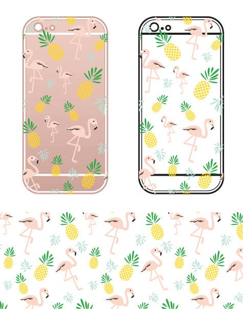 Proposition n°22 du concours Flamingo and pineapple repeating pattern for a phone case.