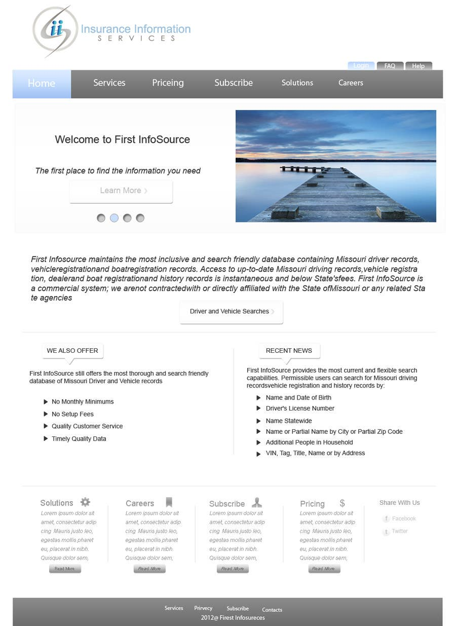 Kilpailutyö #63 kilpailussa Website Design for First InfoSource