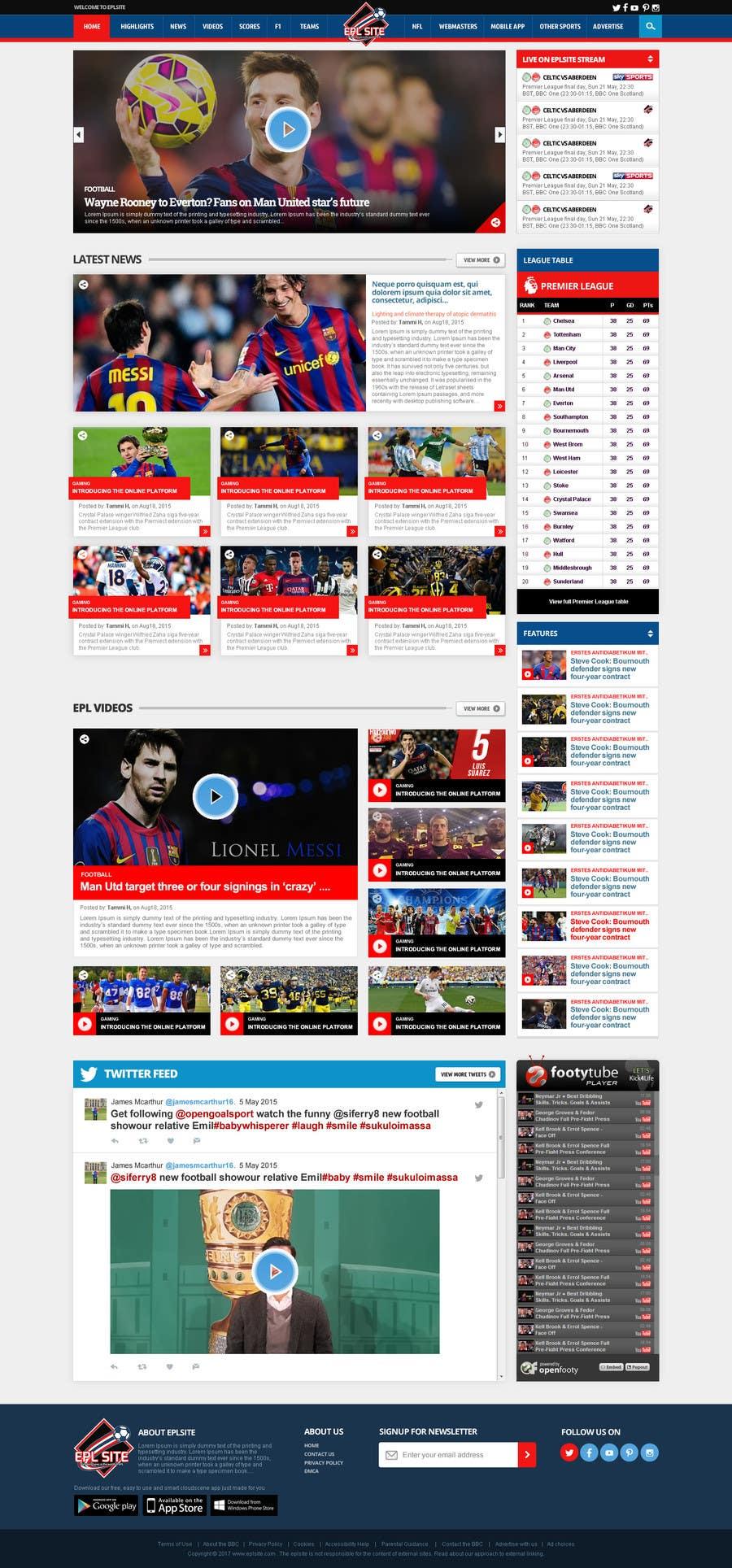 Proposition n°19 du concours Design a Mockup for Football website