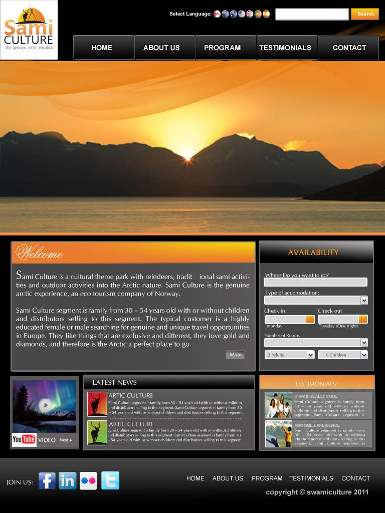Contest Entry #                                        66                                      for                                         Website Design for Sami Culture (Joomla!)