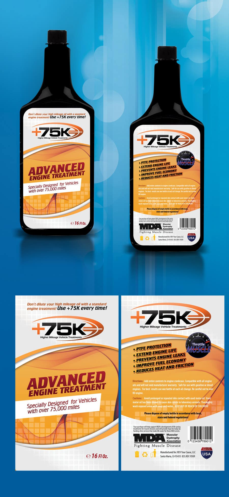#94 for Print & Packaging Design for +75K High Mileage Engine Treatment by csoxa