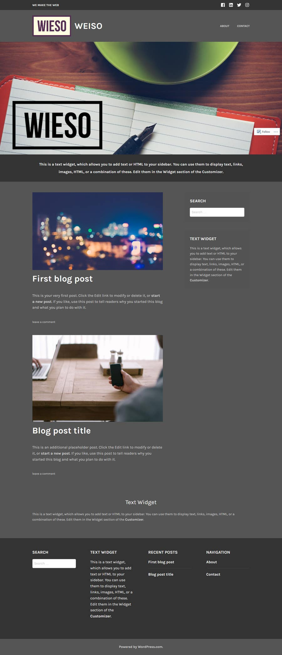 Proposition n°3 du concours Create a WordPress Template