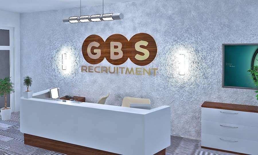 Proposition n°3 du concours I need some 3D Graphic Design for office reception desk furniture and signage