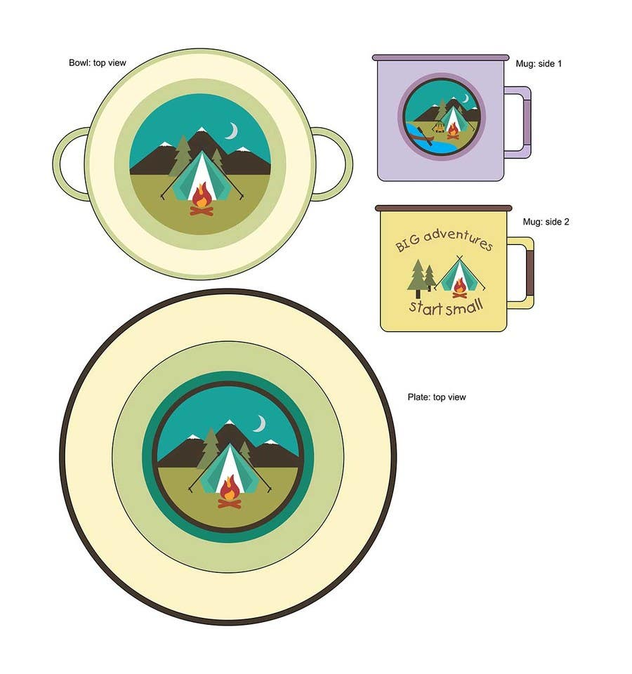 Proposition n°9 du concours Timber and Tamber children's camping and outdoor wear - enamel dinner set