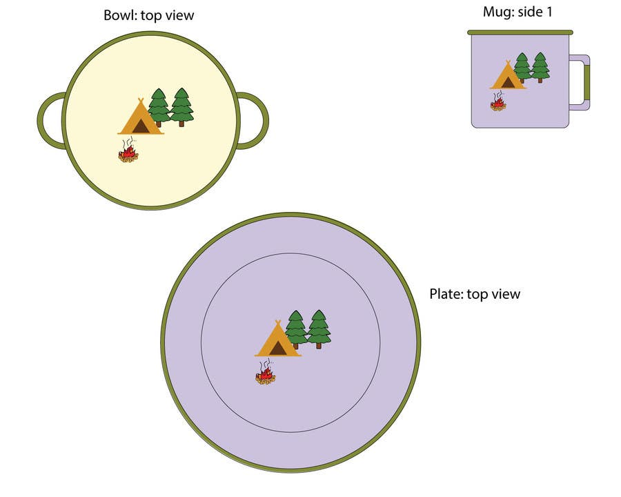 Proposition n°2 du concours Timber and Tamber children's camping and outdoor wear - enamel dinner set