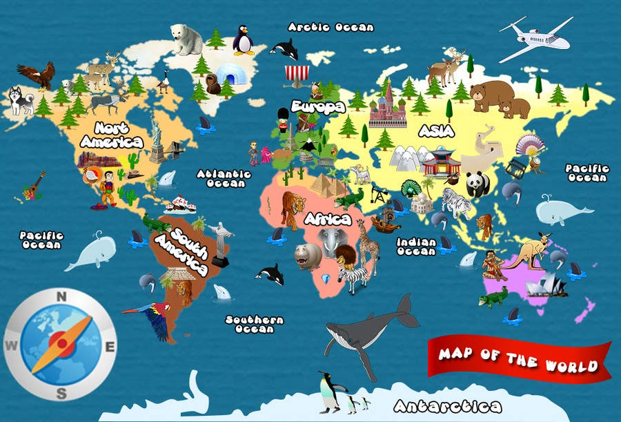 Illustration Design for World Maps for Kids Freelancer