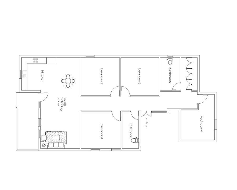 Entry 11 by prakasharch1040 for redesign floor plans for for Existing house plans