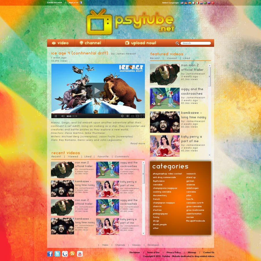 Конкурсная заявка №68 для Website Design for Psytube