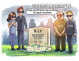 "#2 pentru I want a cartoon picture, with some people standing around the tombstone.  On the tombstone, it reads ""RIP Microsoft Dynamics AX 2009 June 2008 - April 2018 de către lendula"
