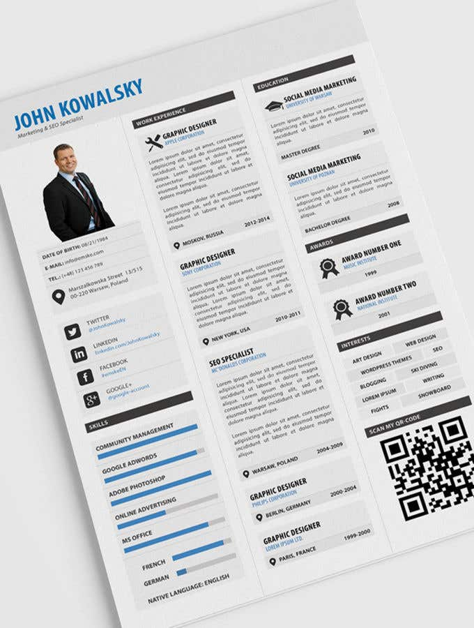 Entry 64 By Mrmridha1 For Create An Interactive Pdf Resume