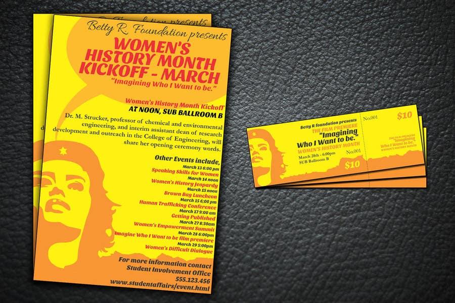 Kilpailutyö #                                        5                                      kilpailussa                                         Graphic Design for TicketPrinting.com WOMEN'S HISTORY MONTH POSTER & EVENT TICKET