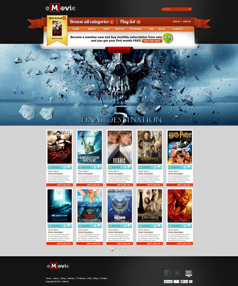 #20 for Website Design for eMovie - Online Movie Streaming by ANALYSTEYE
