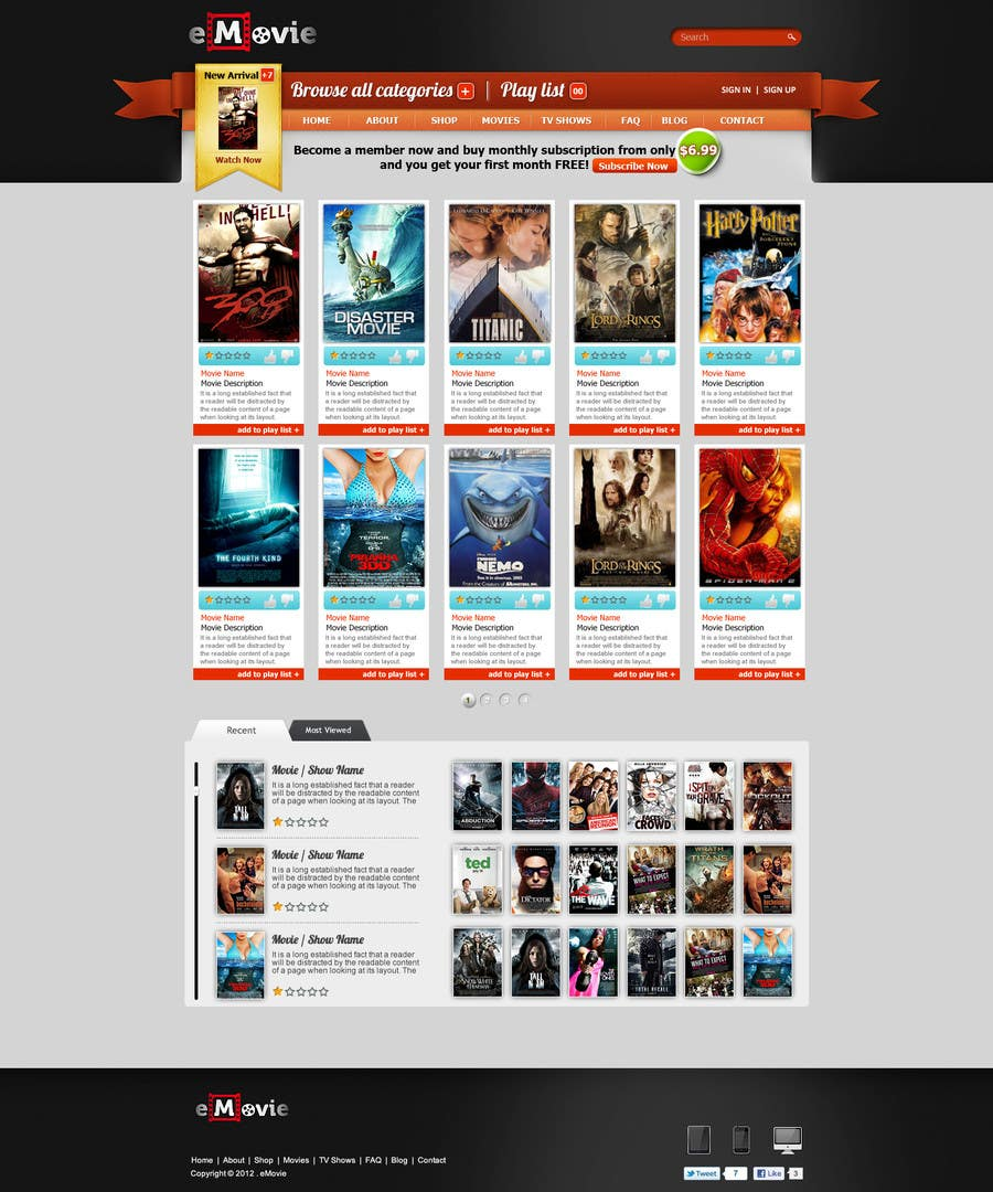 #19 for Website Design for eMovie - Online Movie Streaming by ANALYSTEYE