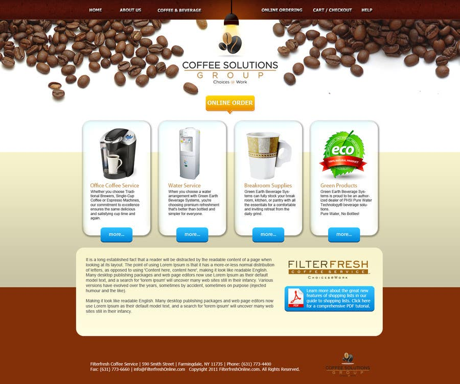Proposition n°                                        18                                      du concours                                         Website Design for Coffee Solutions Group
