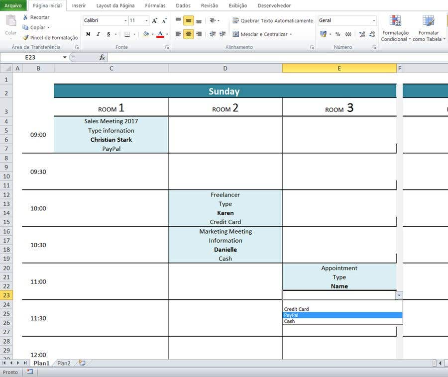 Design simple room booking system on Microsoft excel ...