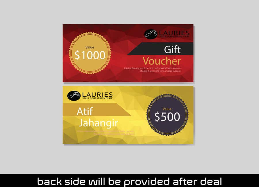 Entry 3 By Atifjahangir2012 For Design Customer And Gift Cards