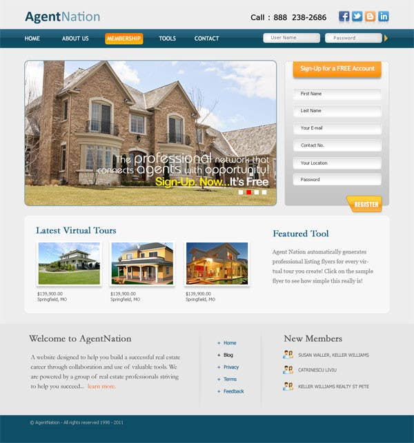 Contest Entry #                                        38                                      for                                         ReDesign for AgentNation.com - Interactive, social, marketing site for Real Estate Pros!