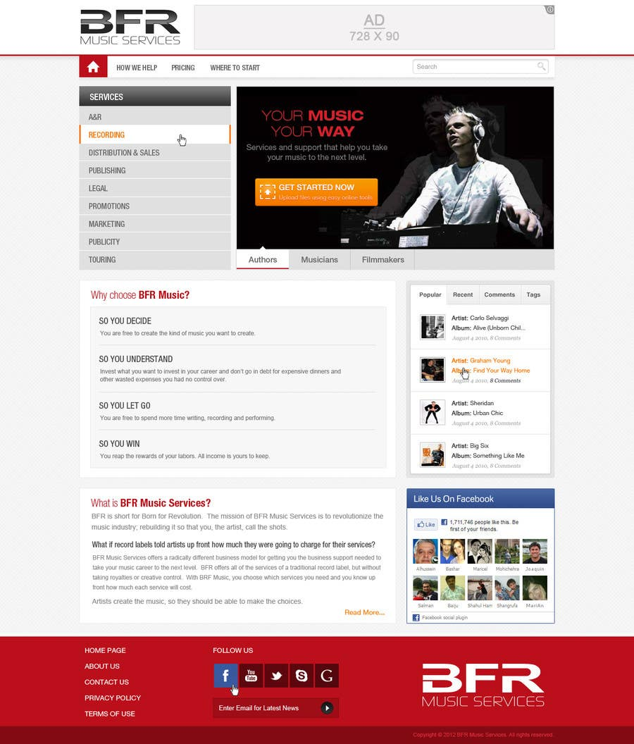 Bài tham dự cuộc thi #                                        4                                      cho                                         Website Design for BFR Music Services