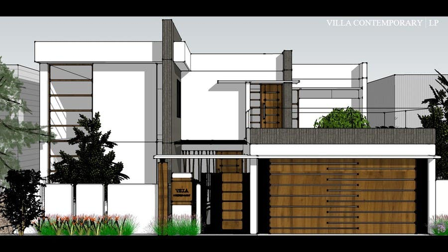 Contest entry 28 for design of elevations for a small modern house