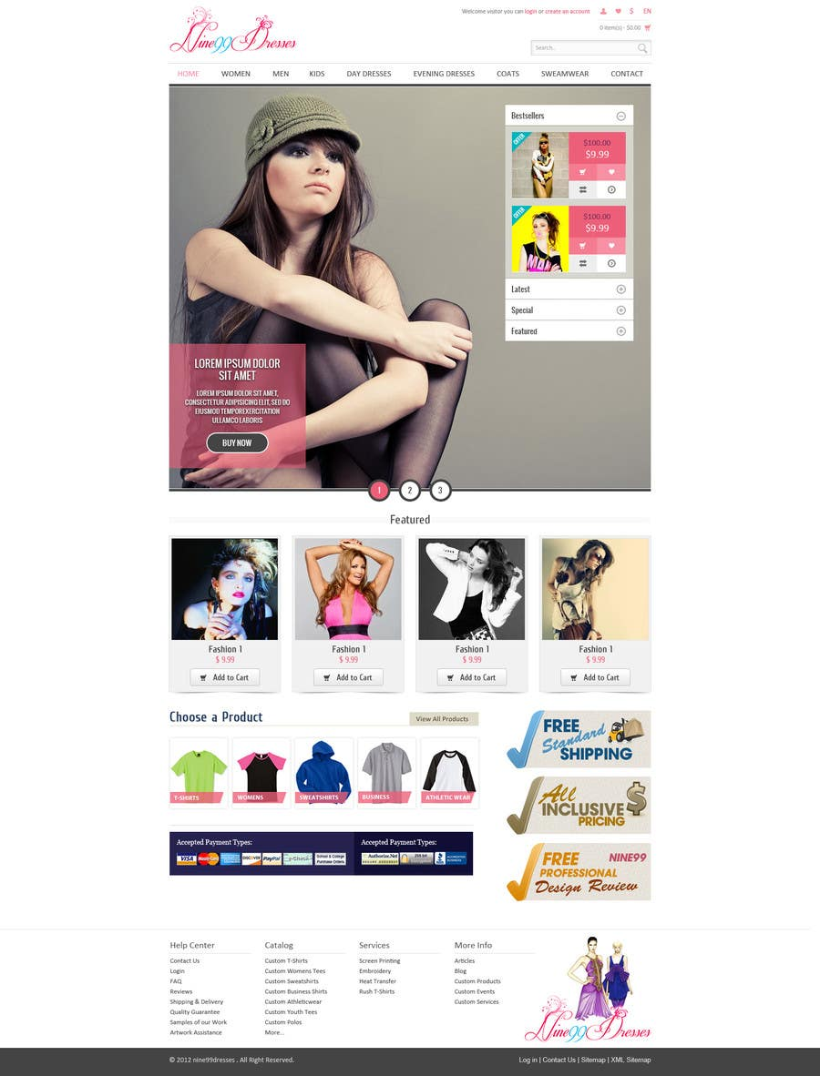 Конкурсная заявка №15 для Website Design for Dresses Fashion Site