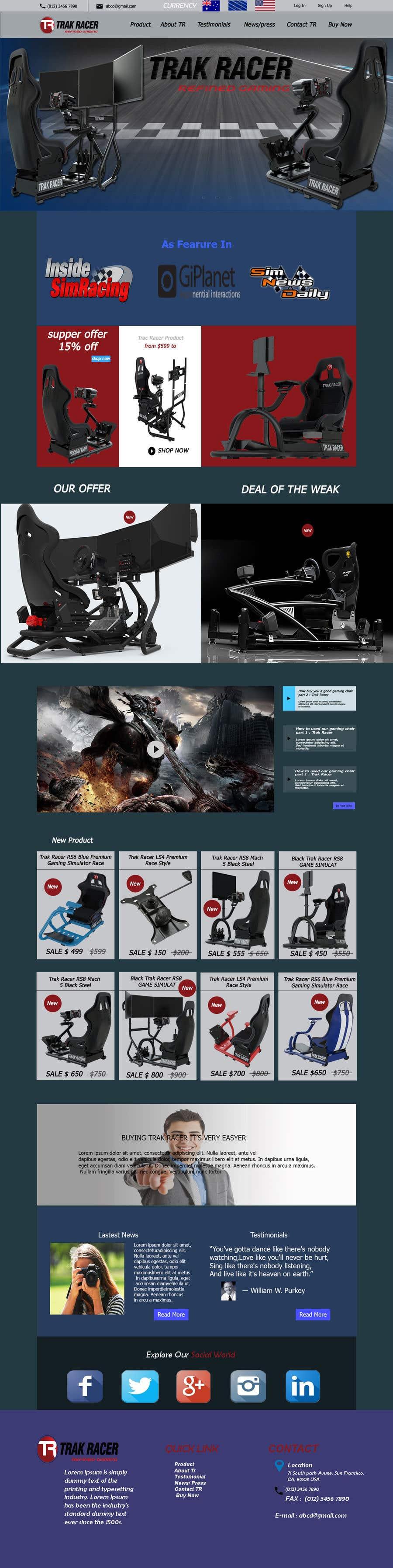 Penyertaan Peraduan #25 untuk Design a home page including header and footer