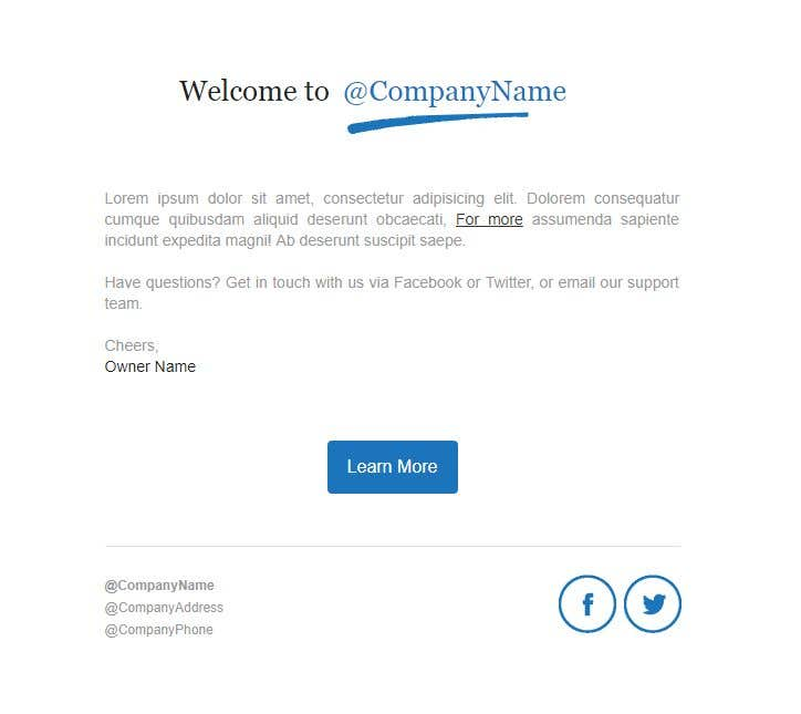 Entry By Rizwan For Design An HTML Template For Email - Welcome email template html