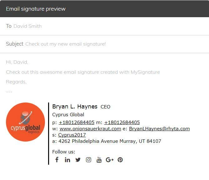 Entry #18 by Joyanto52 for Email Signature for outlook