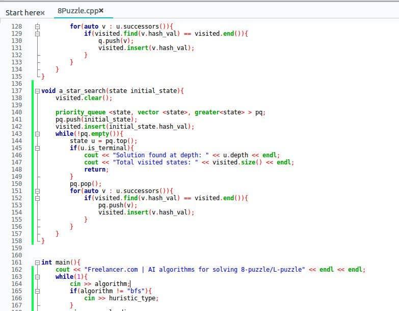 Ai Algorithms For Solving 8 Puzzle L Puzzle Freelancer