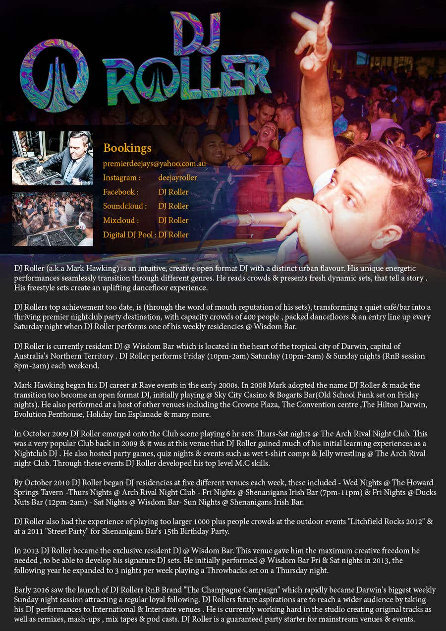 Entry #10 by gnalini01 for Design a DJ Biography Page  | Freelancer
