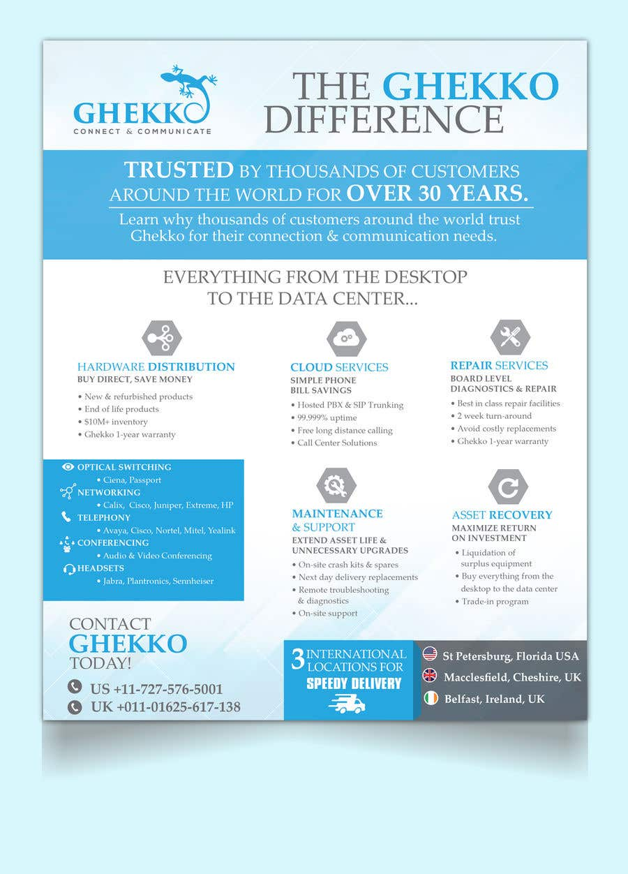 Inscrição nº 65 do Concurso para Design a one page sales brochure for Ghekko - a technology company