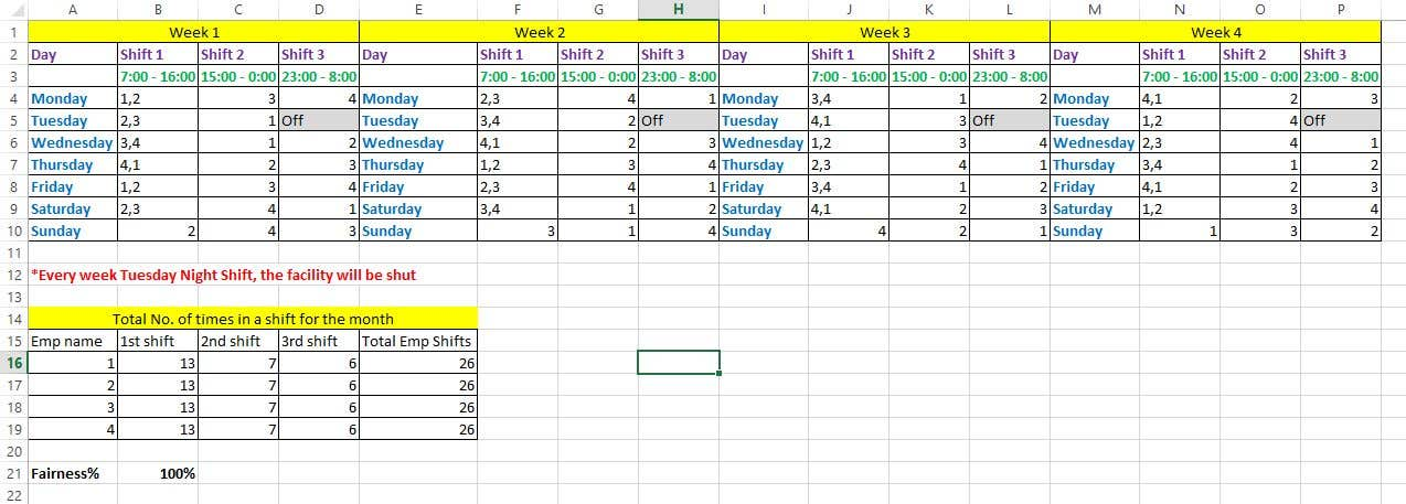 Contest Entry 3 For Plan A Working Shift Schedule In Excel File