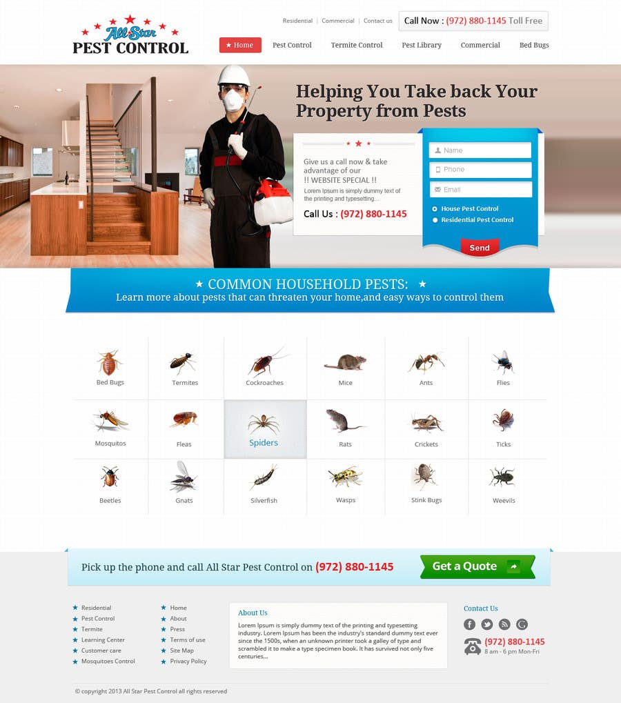 Entry 11 By Iplayers For Website Design For All Star Pest Control