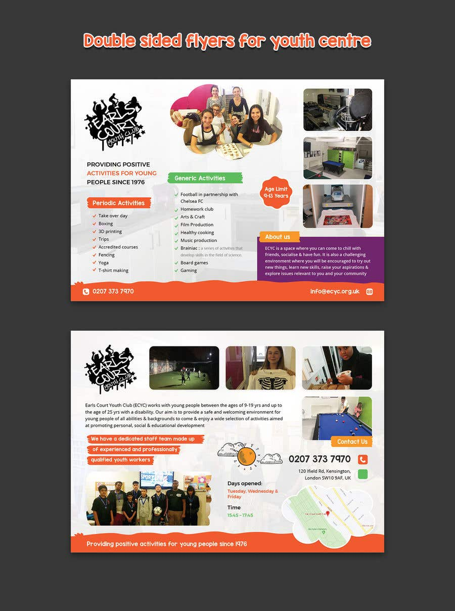 Kilpailutyö #15 kilpailussa Design 2 double sided flyers to advertise a youth centre.