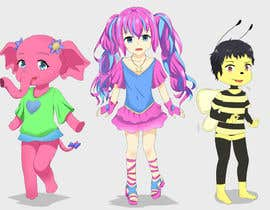 Nro 4 kilpailuun CUTE 2D Character Design of a girl, elephant and bee! (2D ONLY, FULL COLOR, CARTOON) käyttäjältä syaivisyaivi