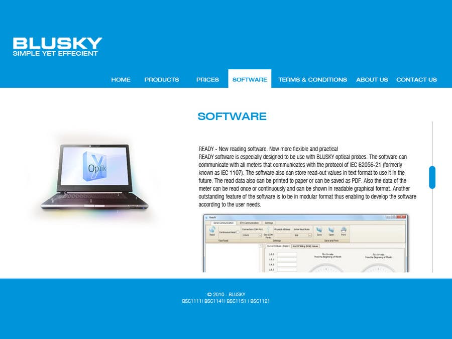 Конкурсная заявка №63 для Website Design for BLUSKY optical probes
