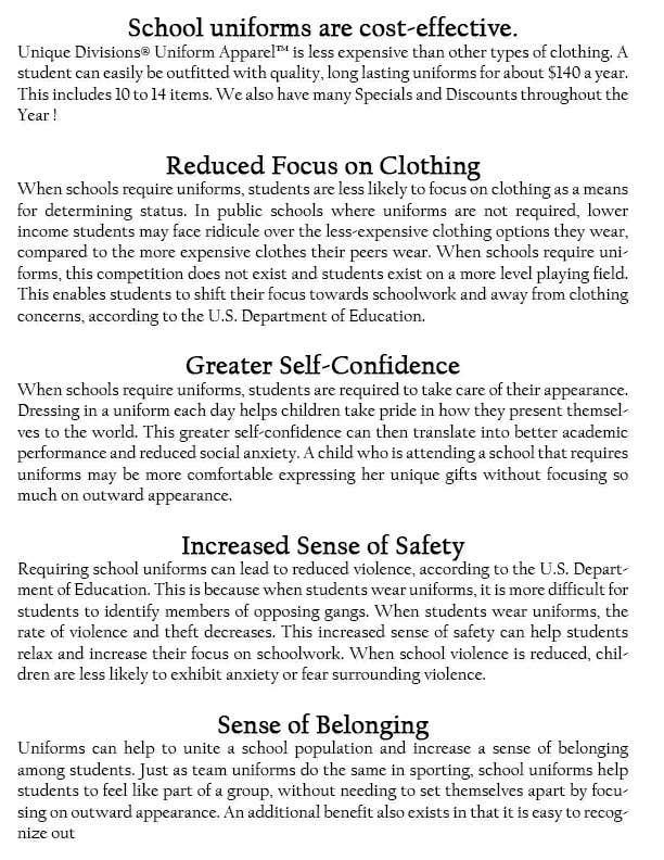 """Penyertaan Peraduan #                                        1                                      untuk                                         Design an Informational Flyer for School Uniforms 8.5""""x11"""""""