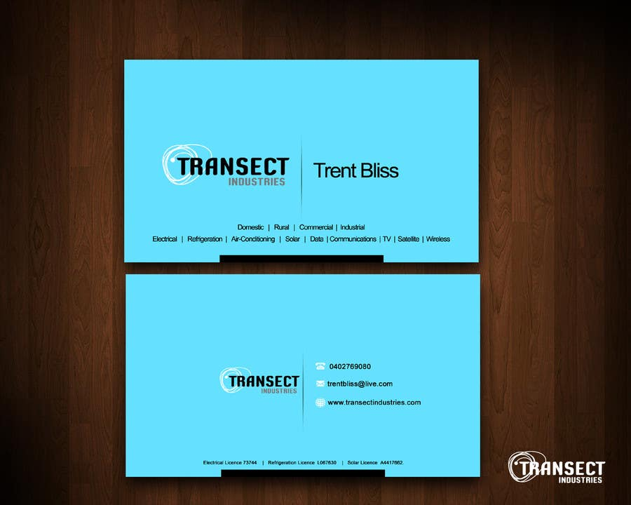 Bài tham dự cuộc thi #                                        53                                      cho                                         Business Card Design for Transect Industries