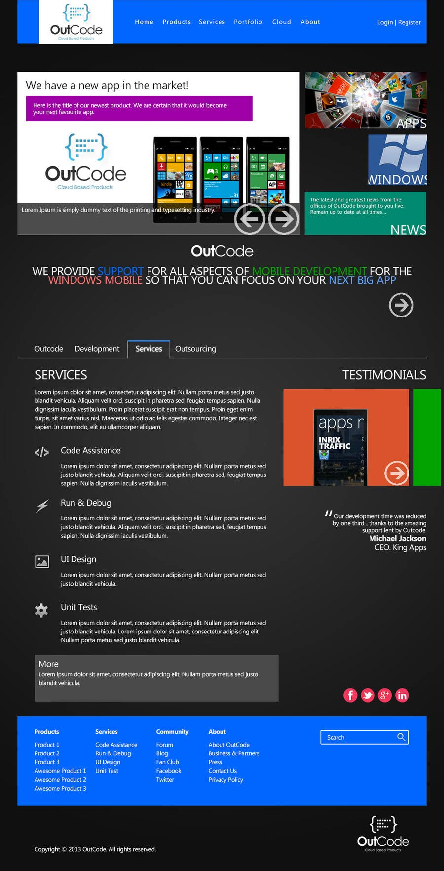 #7 for Website Design for OutCode by dragonx99