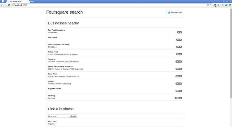 Bài tham dự cuộc thi #                                        1                                      cho                                         One page site using foursquare api